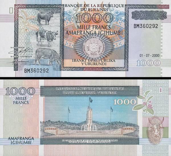 1000 Frankov Burundi 2000, P39c