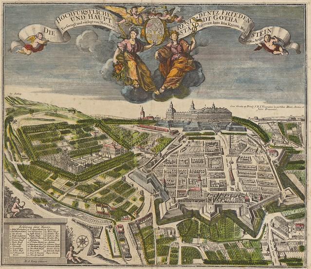 Georg Matthäus Seutter (1678-1757) - Die Hochfürstliche Residentz Frieden Stein und Haupt Stadt Gotha (c.1730)