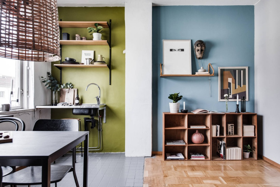 Small Scandinavian Apartment with Pops Of Colors