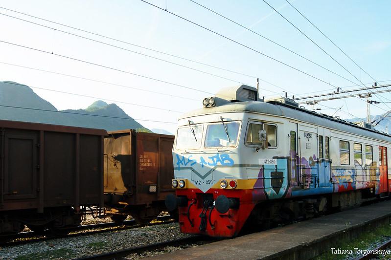 Поезд на железнодорожной станции в Вирпазаре