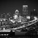 Boston Night Skyline from Malone Park in Chelsea