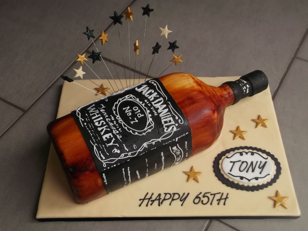 Jack Daniels Bottle Birthday Cake