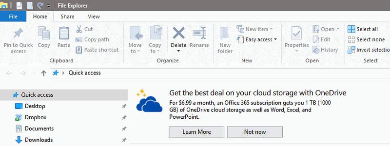 Реклама в Windows 10