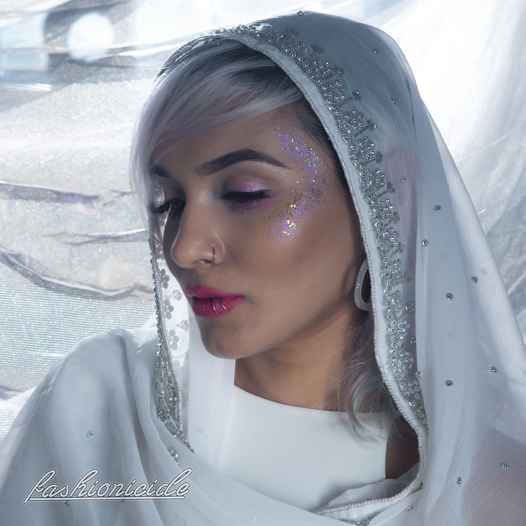 South Asian Desi Dupatta Makeup Look Dulhan Glitter Highlight