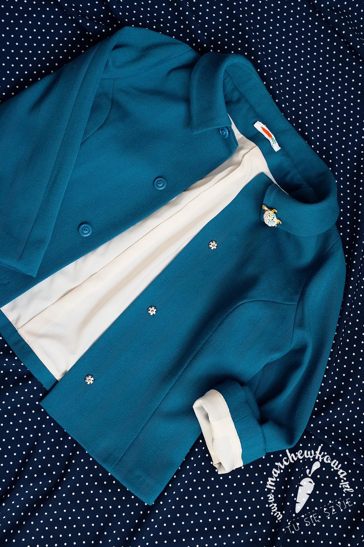 marchewkowa, blog, szycie, sewing, rękodzieło, handmade, moda, styl, vintage, retro, repro, 1950s, 1960s, Wrocław szyje, w starym stylu, kostium, żakiet, spódnica, Burda 9/2009, 2/2017, wykroje, patterns, elanowełna, rozciągliwa podszewka, polyester-wool mix, vintage buttons, how to bag a jacket lining instructions, Vintage Vogue Patterns