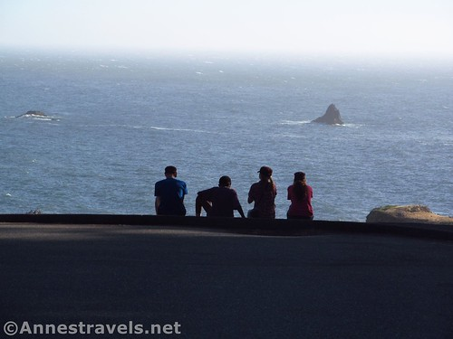 Enjoying views from the parking area at Arch Rock Picnic Area, Samuel H. Boardman State Scenic Corridor, Oregon