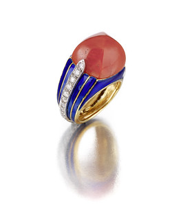 A coral, diamond and enamel ring, Donald Claflin for Tiffany & Co. 22