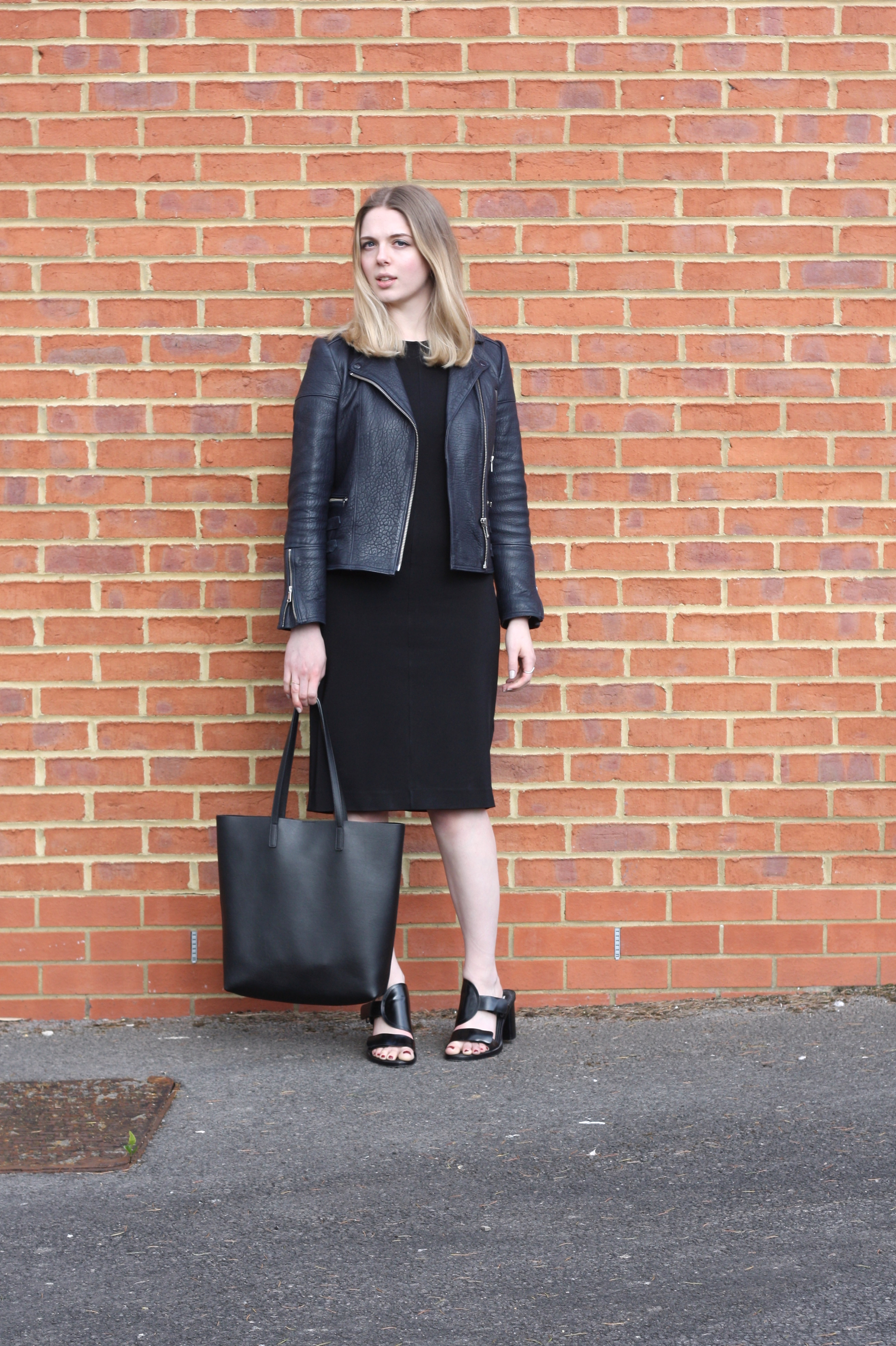 & Other Stories black dress, Saint Laurent black shopper bag and Whistles navy leather jacket