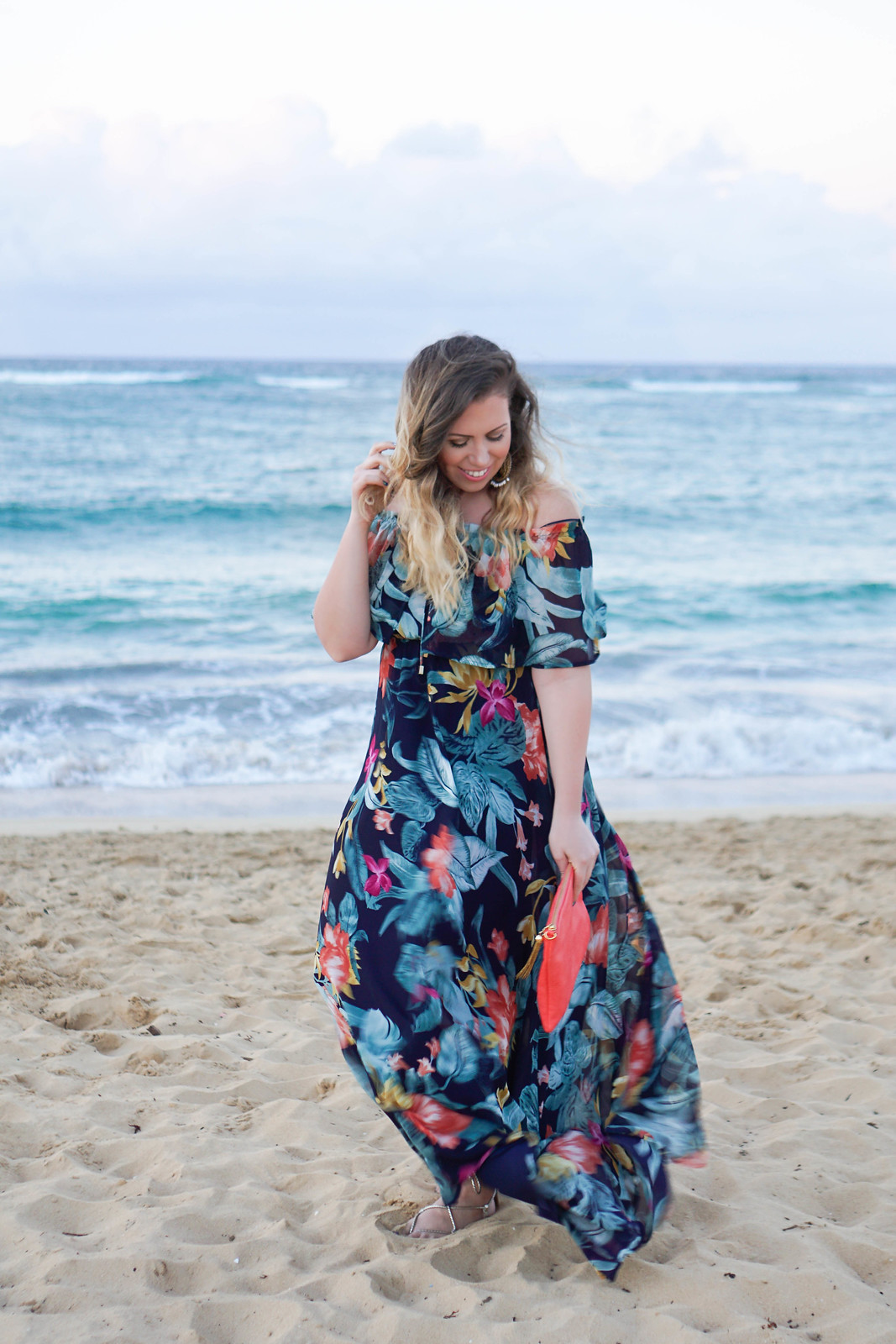 My Favorite Spring Trends Lulu's Navy Floral Print Off Shoulder Maxi Dress Punta Cana Dominican Republic Beach Vacation Outfit