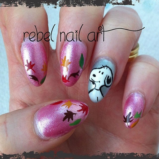 ... Snoopy nails with autumn leaves on acrylic nails. #notd #nails #nailart  # - Snoopy Nails With Autumn Leaves On Acrylic Nails. #notd #n… Flickr
