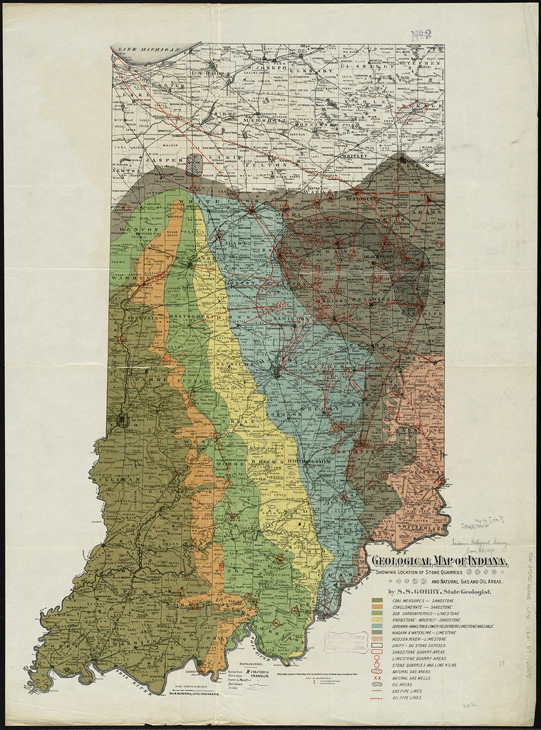 Geological map of indiana showing location of stone quarr flickr geological map of indiana showing location of stone quarries and natural gas and oil areas publicscrutiny Gallery
