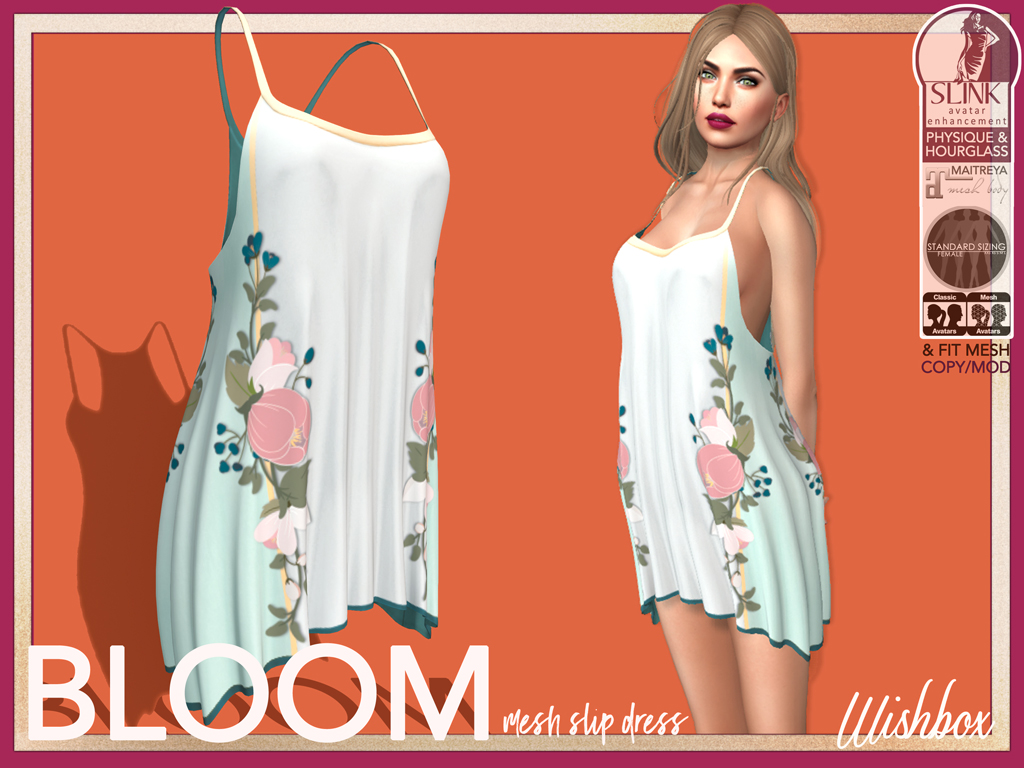 Second Life Mesh Dress Floral [Wishbox] Bloom (Pale Green)