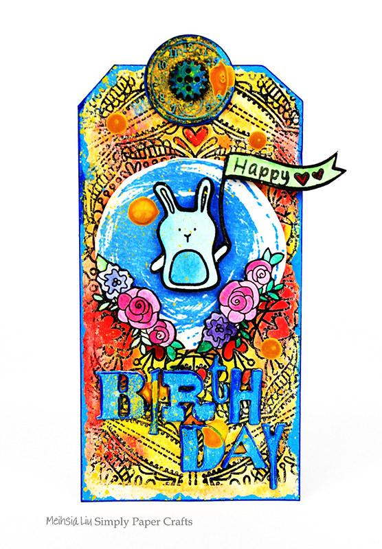 Meihsia Liu Simply Paper Crafts Mixed Media Tag Birthday Rabbit Simon Says Stamp Tim Holtz 11