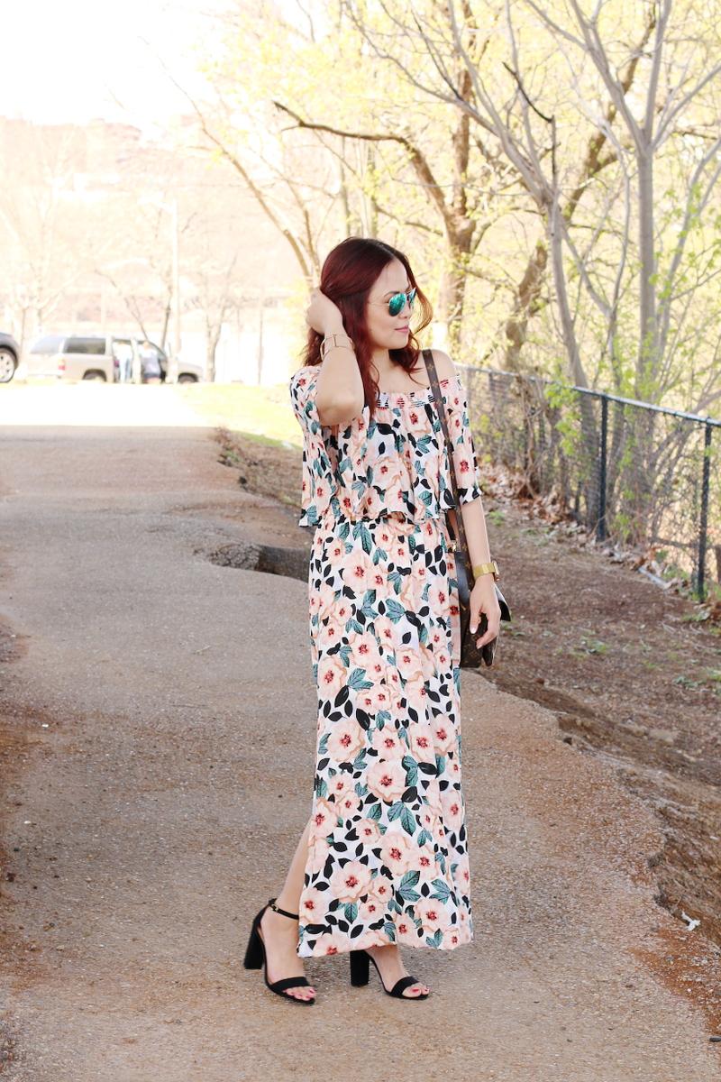magnolia-print-off-shoulder-dress-black-suede-sandals-2