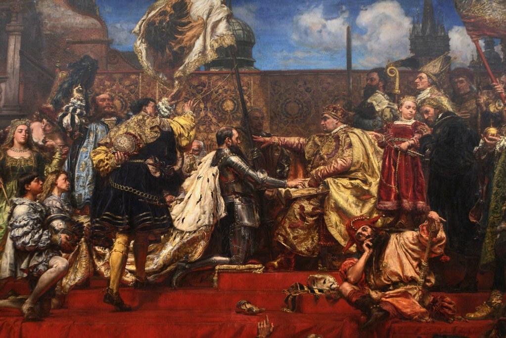 """""""Hold Pruski"""" de Matejko : Les Chevaliers Teutoniques défait signe la paix en 1525. Leur territoire devient le duché de Prusse, vassal du Royaume Polono-lituanien."""