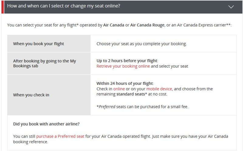 Does Rouge offer free seat selection 24 hour before the flight at