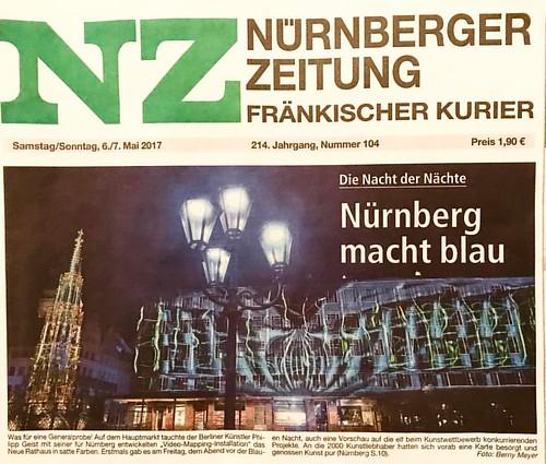 Cover Nürnberg Zeitung Fränkischer Kurier - into the blue Philipp Geist #intotheblue #hauptmarkt #blauenacht #philippgeist