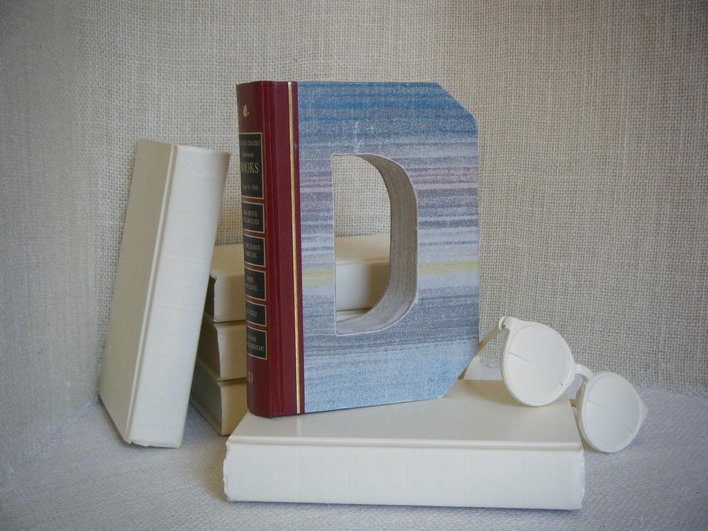 Alphabet Letter D Book Art Ooak Shabby Chic Home Decor