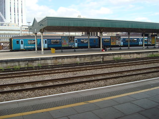 Class 150 at platform 0 in Cardiff Central