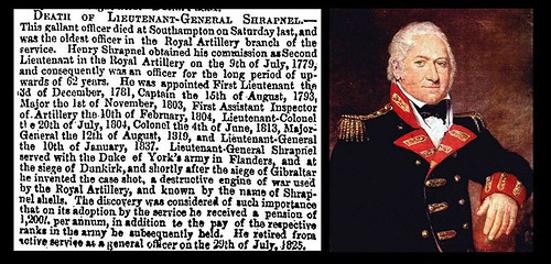 13th March 1842 - Death of Lieutenant-General Henry Shrapnel | by Bradford Timeline