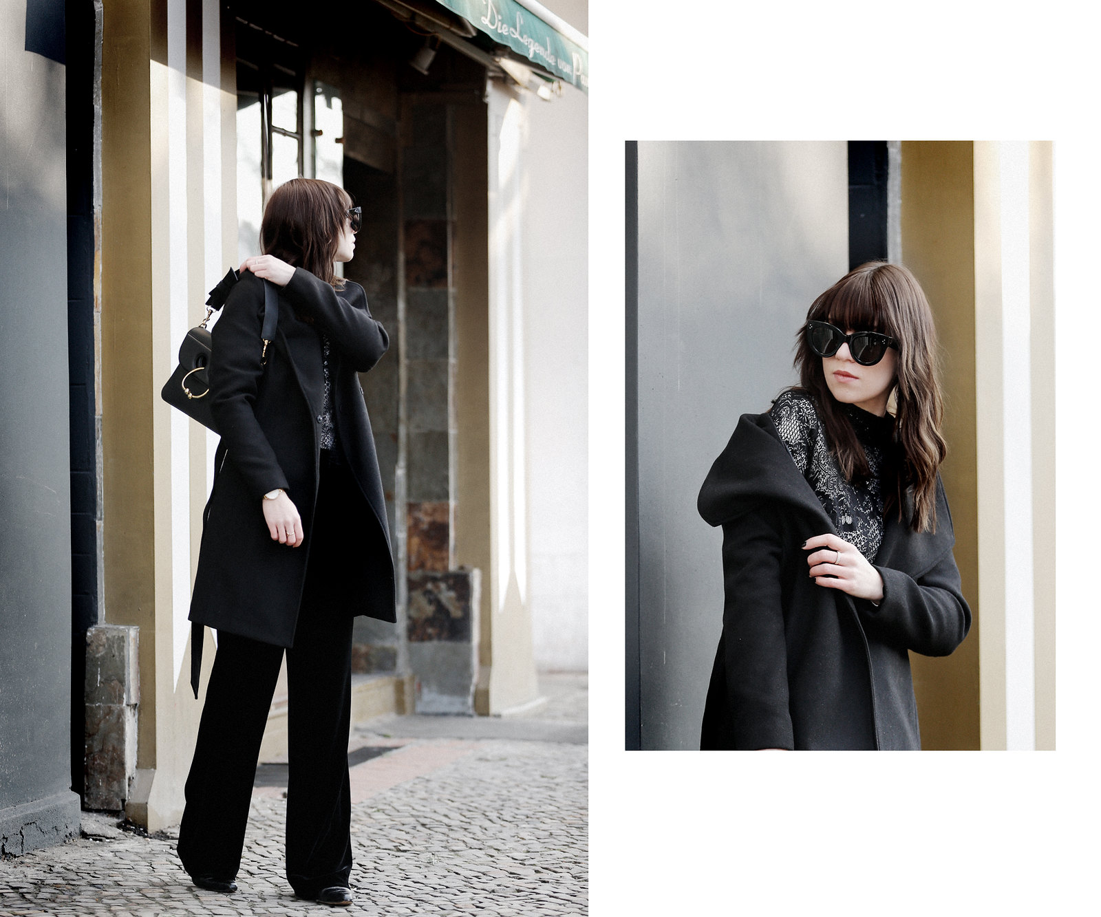 outfit black vila lace coat winter berlin j.w.anderson pierce bag céline audrey sunglasses minimal allblack clean minimal styling lookbook cats & dogs fashionblog ricarda schernus modeblogger düsseldorf 3