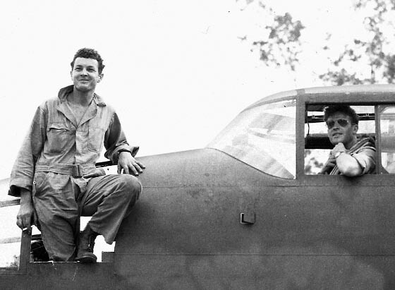 Maj. Gerrity (in the cockpit) and Sgt. Neal (standing in the B-25's nose).