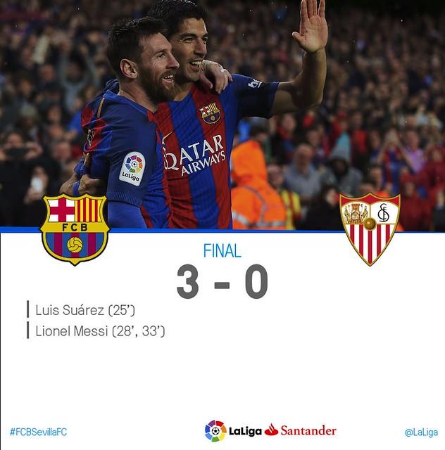 La Liga (Jornada 30): FC Barcelona 3 - Sevilla FC 0
