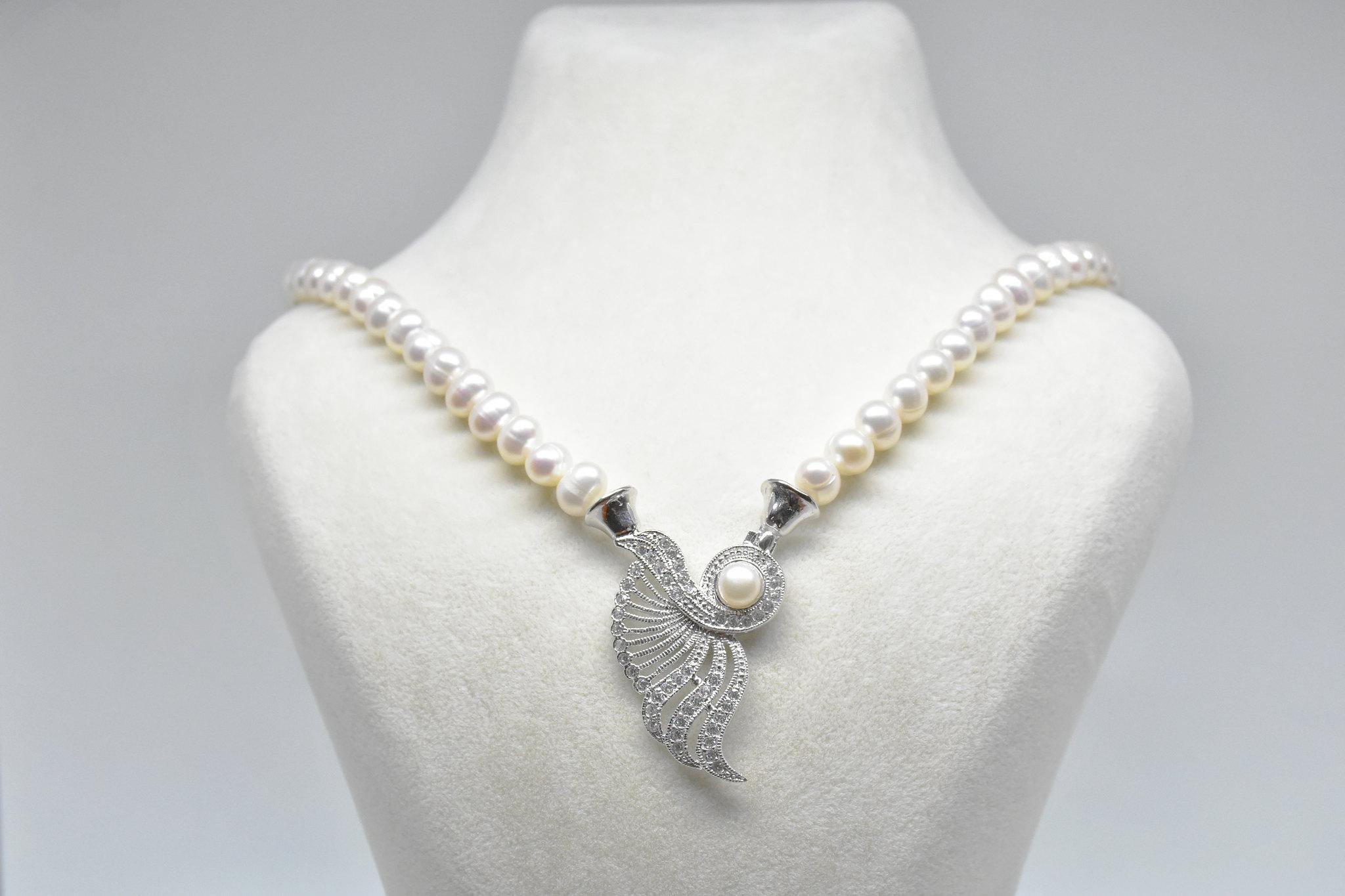 - Ahsen 925K Gümüş Klipsli Doğal Beyaz İnci Kolye-AH-00043