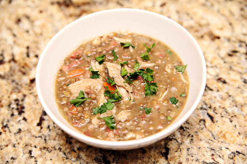 Pressure Cooker Chicken Bacon Lentil Stew