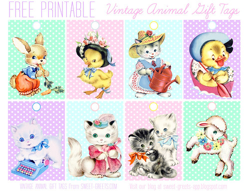 Vintage Animal Gift Tag Set Blogged About At Sweet