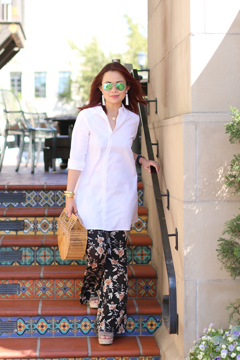 cult-gaia-ark-bag-white-shirt-floral-pants-steve-madden-sandals-2