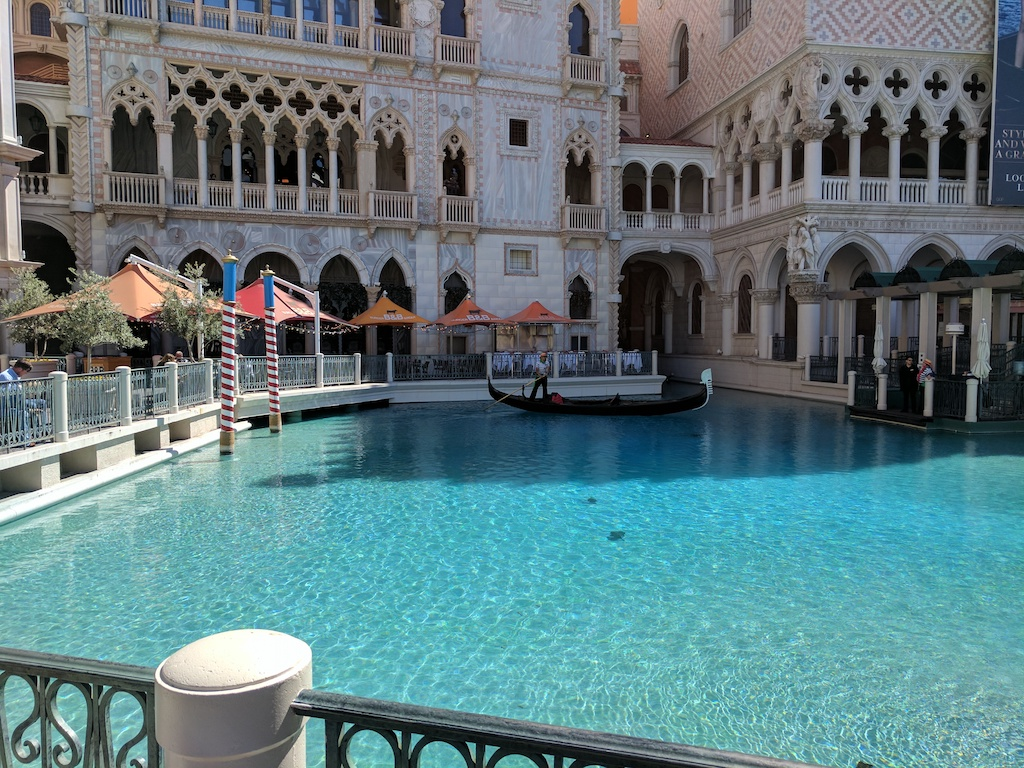 Gondola and Lake at the Venetian Hotel, Las Vegas.