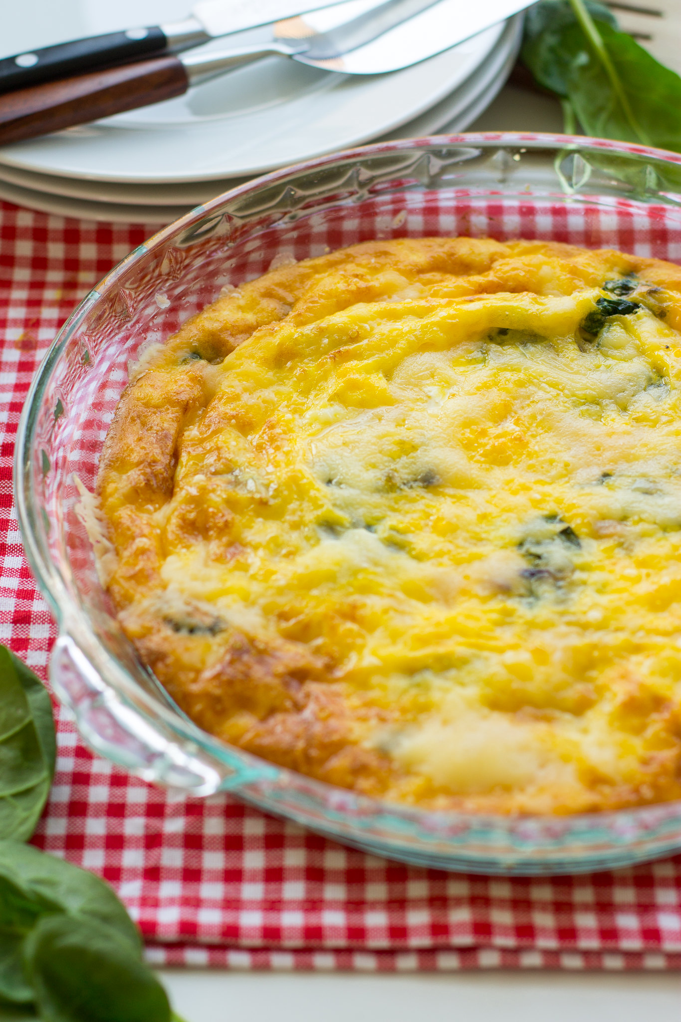 perfect oven-baked frittata with spinach, gouda, and parmesan
