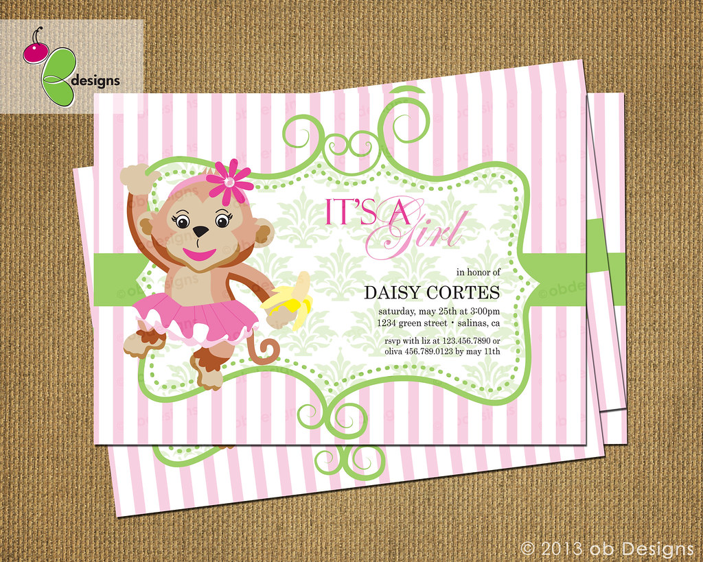 Pink Monkey Baby Shower Cake
