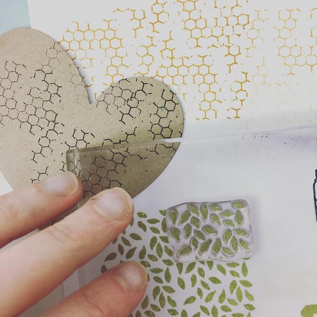 StickerKitten Bee Garden stamp set - honeycomb stamp and leaf pattern stamp
