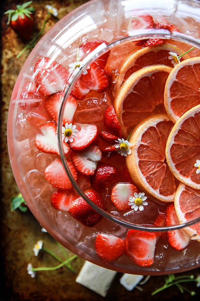 Strawberry Grapefruit Bourbon and Chamomile Brunch Punch from HeatherChristo.com