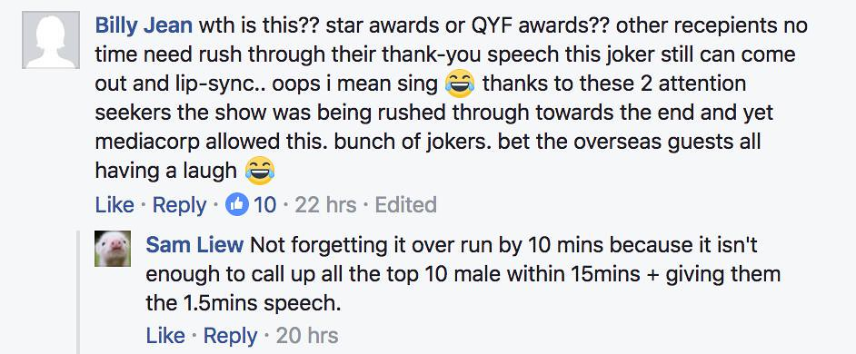 """Not a single dry eye in the room"" - Eleanor Lee's surprise song segment at Star Awards 2017 gets mercilessly trolled online - Alvinology"