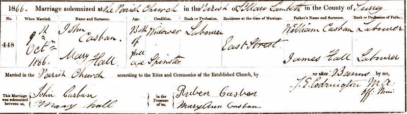 John Casban Mary Hall M Lambeth 1866