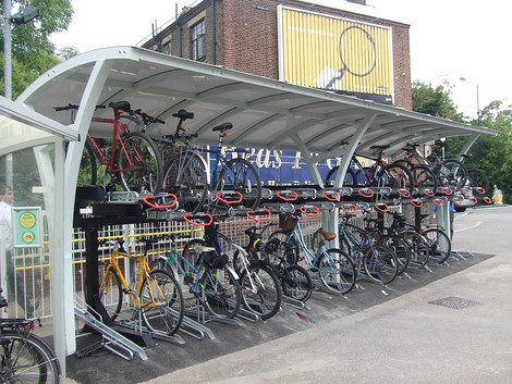 Double deck bicycle parking at Sutton Station, Southern Railway, UK