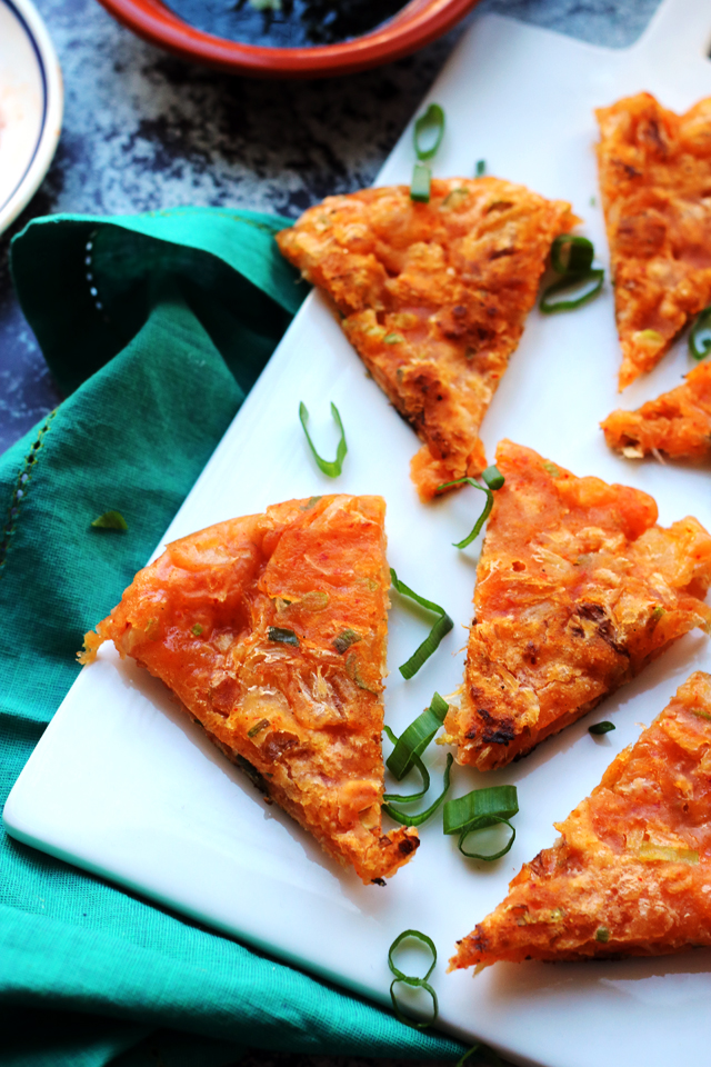 Super Easy Kimchi Pancakes with Soy Dipping Sauce
