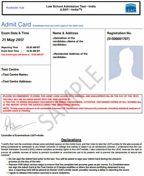 LSAT Admit Card Sample
