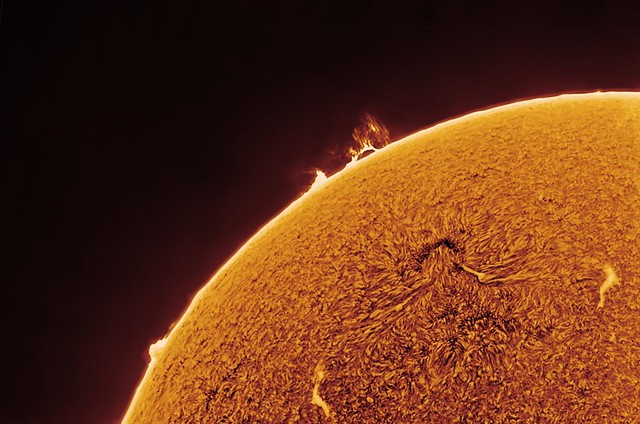 Flaming loop prominence in Hydrogen Alpha 2017_05_01