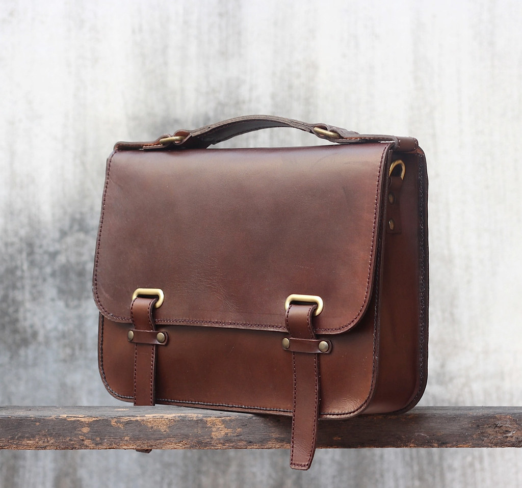 Handmade Leather Briefcase Beautiful Hand Stitched Mini