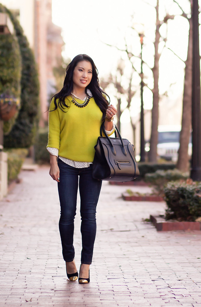 cute & little blog | neon yellow sweater, black white polka dot shirt, rag bone skinny jeans, celine | spring outfit
