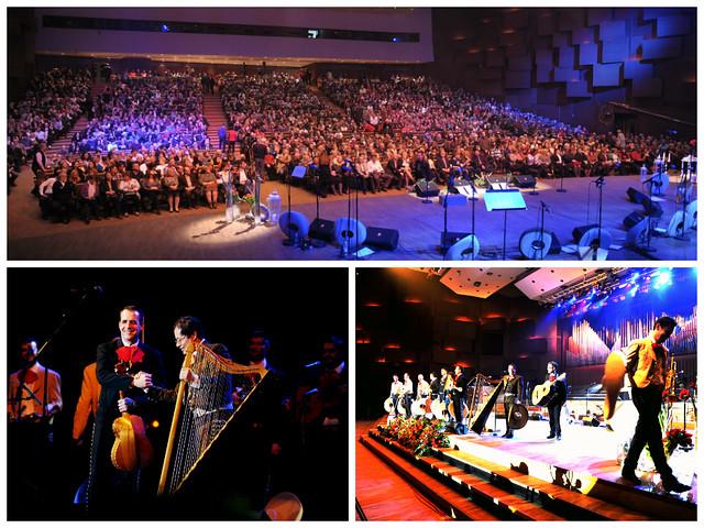 Grupo mariachi Los Caballeros y del Arpista mexicano Baltazar Juárez, en la Sala de conciertos Vatoslav Lisinski en Zagreb, Croacia