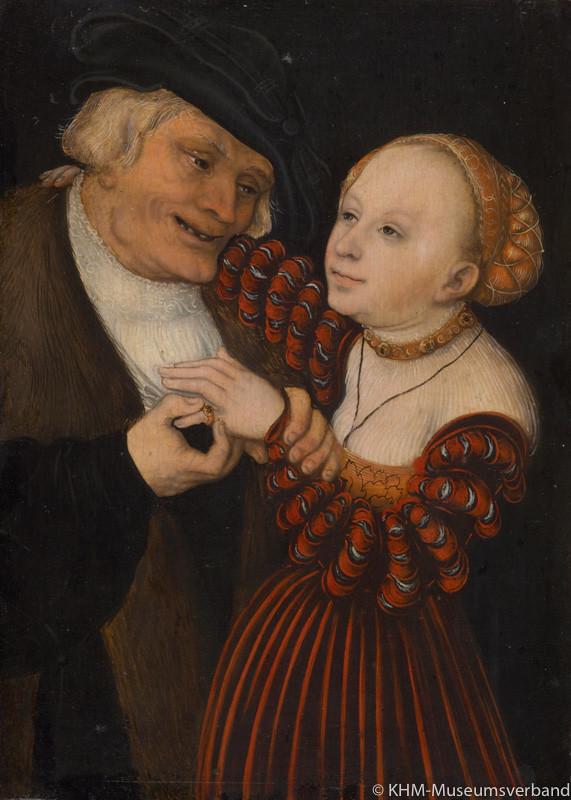 《不釣合いなカップル》(1530/40年、ウィーン美術史美術館蔵)