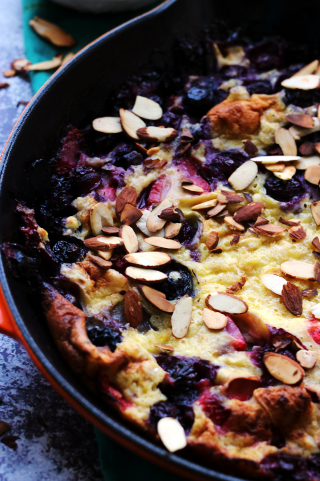 Strawberry and Blueberry Almond Dutch Baby