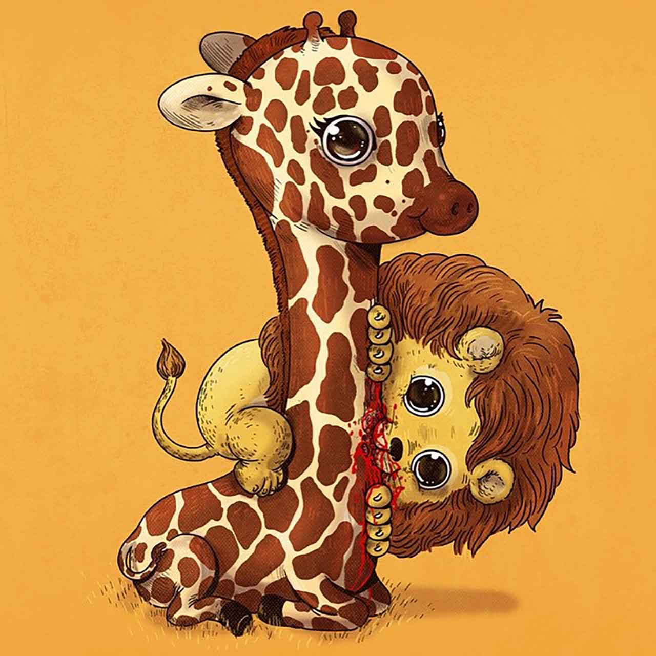 "Artist Creates Extremely Adorable ""Predator & Prey"" Illustrations #19: Lion & Giraffe"