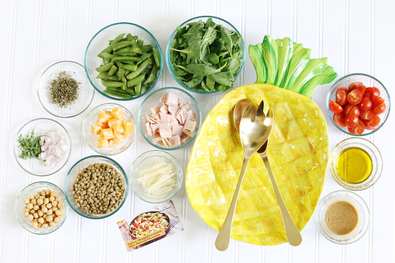 Turkey-Cheese-Salad-Ingredients-Pineapple-Bowl-2