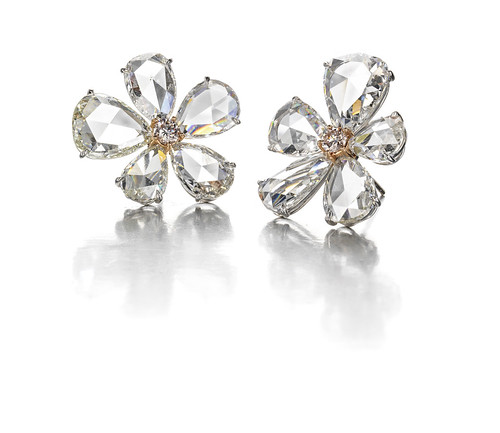 A pair of fancy colored diamond and diamond earrings 125